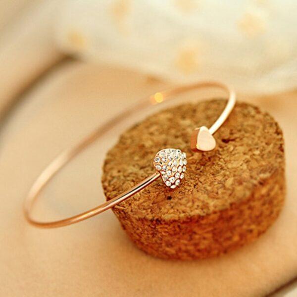Adjustable Crystal Double Heart Bow Bracelet