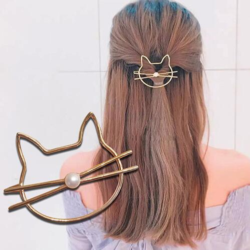 Diamond Round Moon Hair Clip For Women